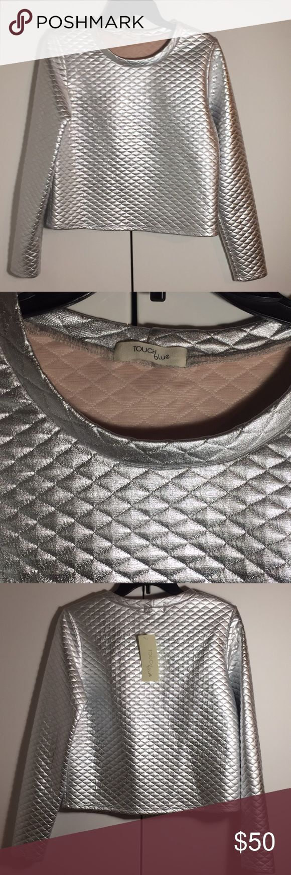 NWT Shiny Silver Metallic long sleeve top Super shiny & metallic quilted  long sleeved top by Touch Blue. Sample size small. Your wearable space suit! Tops