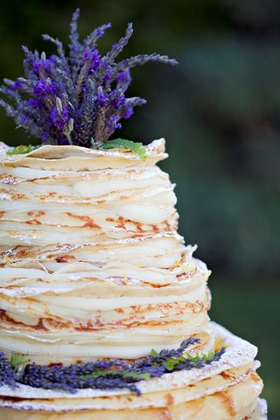 layers of cream and pancakes in this alternative wedding cake