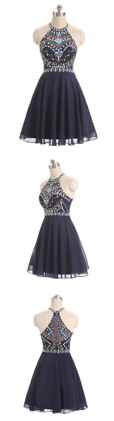 Sexy Homecoming Dress Halter Rhinestone Chiffon Short Prom Dress Party Dress JK387