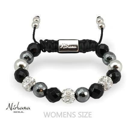 Nirbana Soul - Nao - Agate, Hematite and Silver - Shamballa bracelet