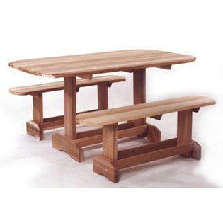 """3pcs Outdoor Patio Wood Oval Picnic Table & Benches Set by All Things Cedar. $363.99. Some assembly may be required. Please see product details.. You will receive a total of 1 outdoor oval picnic table and 2 benches. Table Dimension: 69""""L 33""""W 29""""H Bench Dimension: 48""""L 12""""W 18""""H Finish: Finely Sanded Finish Material: Manufactured using Clear Grade Western Red Cedar Western Red Cedar fibers contain oils that act as natural preservatives to help the wood resist rot..."""