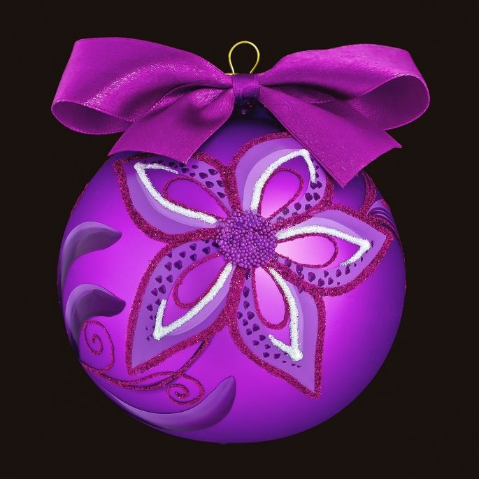 Violet Orchidea - Personalized Glass Christmas Tree Bauble / Ball Ornament Decoration
