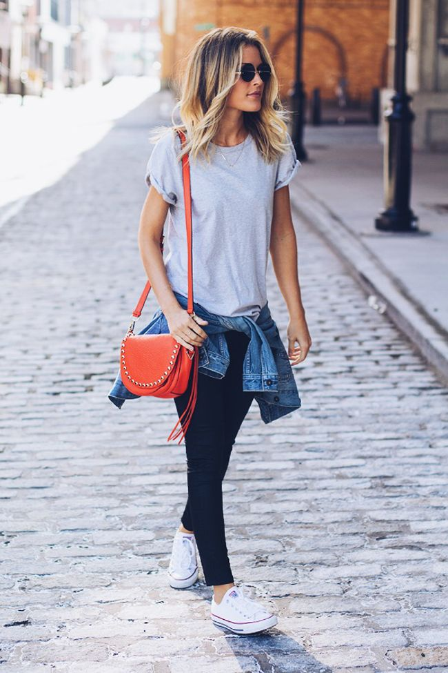 Love this classic casual look (+ a little glamour with the red studded purse) .. coated black skinnies, converse, grey tee and denim jacket | photos of Lindsay @ Lindsay Marcella ~ x debra   Bloglovin