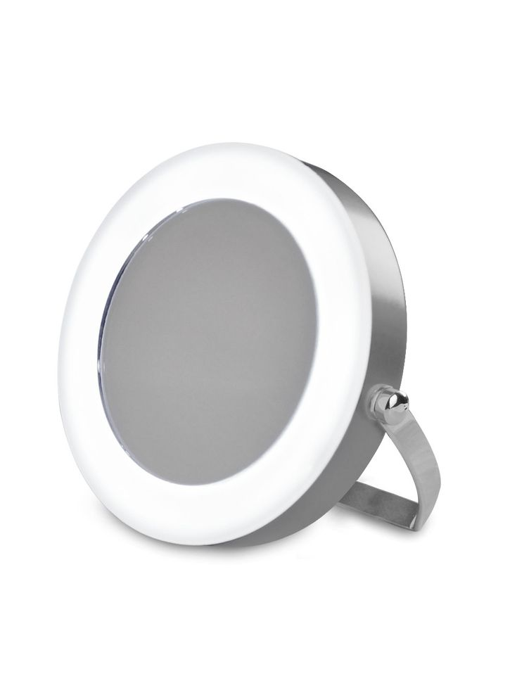 Small Modern Compact, Portable And Adjustable Silver Chrome Battery Operated Magnifying LED Make Up Cosmetic Shaving Vanity Mirror Light