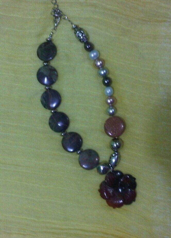 Gemstone necklace: The meeting of gemstones, metal and pearls by Wita Anggraini-Indonesia