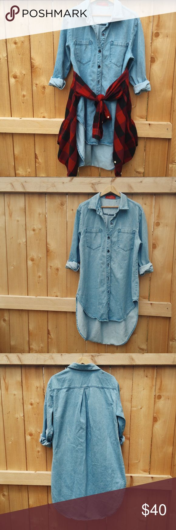 Akira Chicago Denim Dress Women's high low denim dress in size L. Fell in LOVE with it in the store but only wore once because it was too big on me. I'm terrible at ironing so please excuse the wrinkles :( AKIRA Dresses High Low