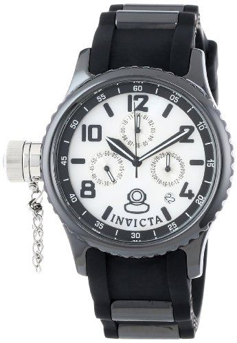 Invicta Women's 1820 Russian Diver White Mother-Of-Pearl Dial Black Polyurethane Watch Japanese quartz movement. Flame-fusion crystal; black ceramic case; black polyurethane strap with black ceramic barrel accents. Day, date, 60 second and 24 hour subdials. White mother of pearl dial with black hands, hour markers and Arabic numerals; luminous; secured screw-down cap on crown at 9:00. Water-resist... #Invicta #Watch