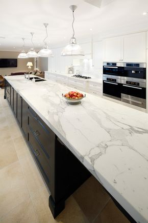 kitchens with dark cabinets and calcutta caesarstone bench tops - Google Search