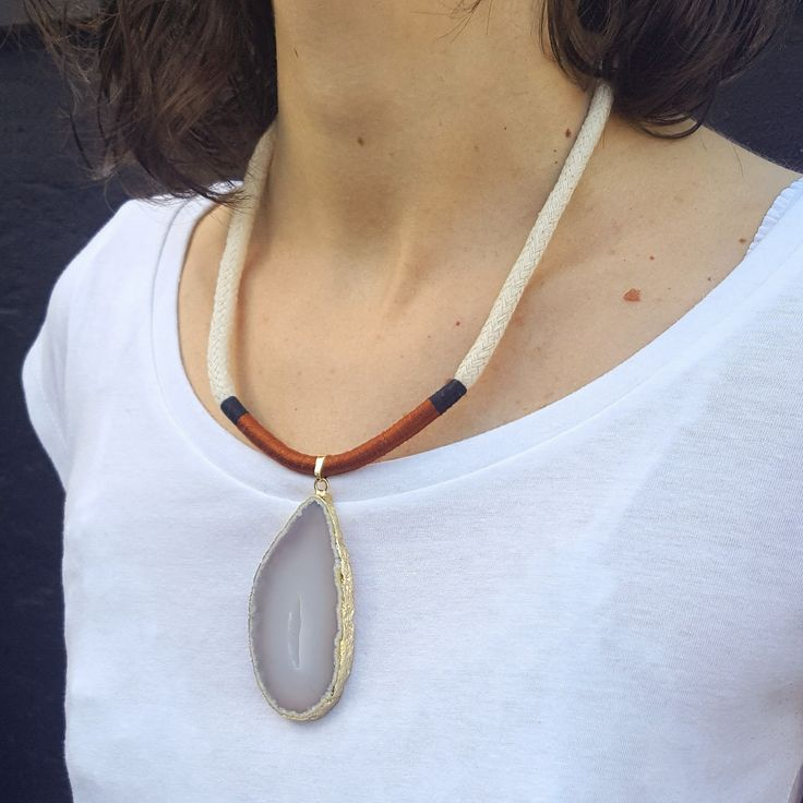 Handmade cotton rope necklace wrapped in natural cotton strings with agate stone, magnetic closure.  47cm string necklace, 8mm thickness