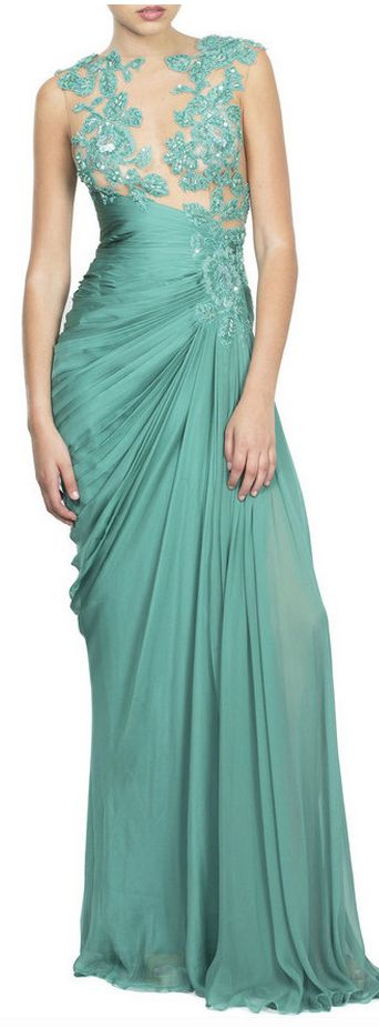 seafoam embroidered draped gown