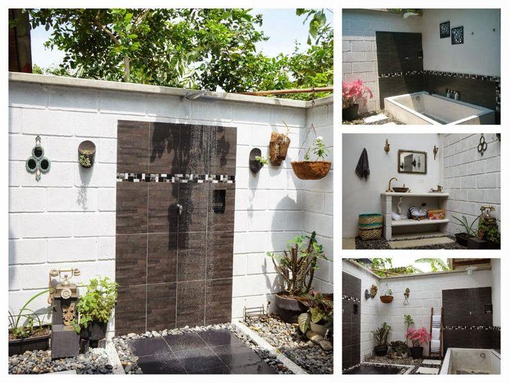 Un #baño al aire libre. que priorizara los #elementos rústicos #artesanales,   #ducha exterior. #ducha al aire libre. #ducha exteriores. #baño exterior.  #infografía.