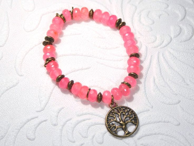tree of life bracelet, Jade Bangle, pink bracelet, Stacking Bohochic bangle, forher gift, pink gemstone bracelet, bronze jade, Boho style by SanguineJewelry on Etsy