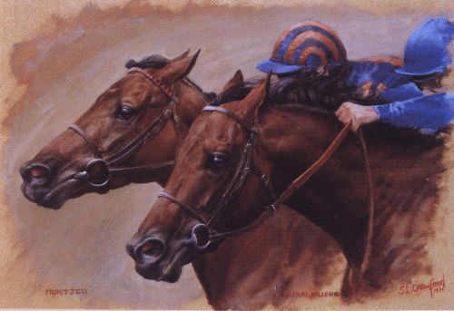 In August 2000, Sheikh Mohammed, the owner of Dubai Millennium, challenged Michael Tabor, the owner of Montjeu, to an old-fashioned head-to-head match between the two superstar colts. However, before the race could take place, Dubai Millennium suffered a career-ending injury. In her depiction of The Race that Never Was, Susan has painted Dubai Millennium, ridden by Frankie Dettori, and Montjeu, ridden by Mick Kinane, neck and neck a furlong from home. Who won? We'll never know.