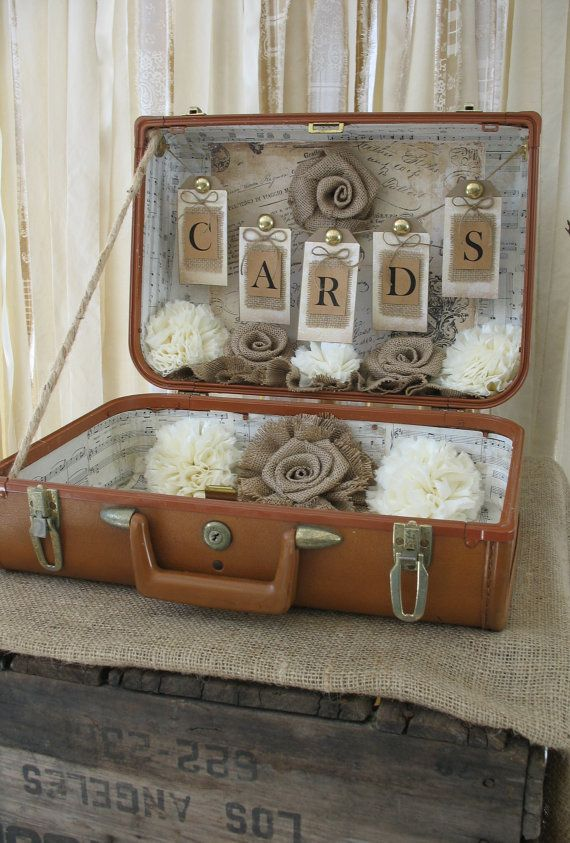 Card Box Vintage Suitcase Wedding Card by TheShabbyChicWedding, $100.00