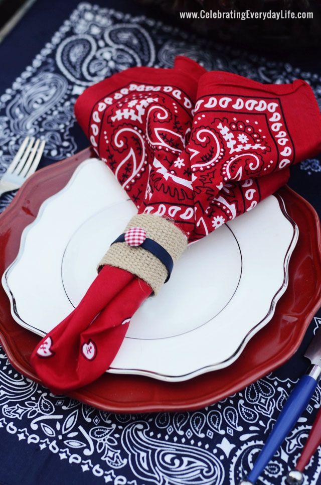 Summer Entertaining, Bandana Placesetting Inspiration by Celebrating Everyday Life, Bandana napkin with burlap napkin ring