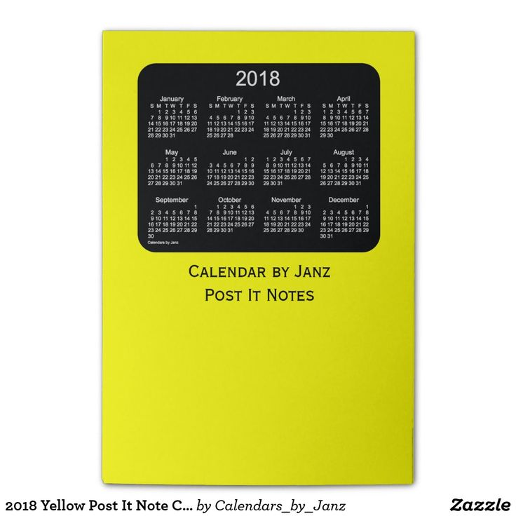 2018 Yellow Post It Note Calendars by Janz