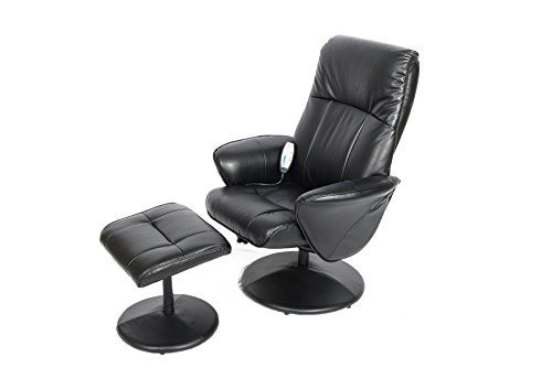 Fairmont Furniture Monaco Faux Leather Massage Swivel Recliner Chair and Footstool