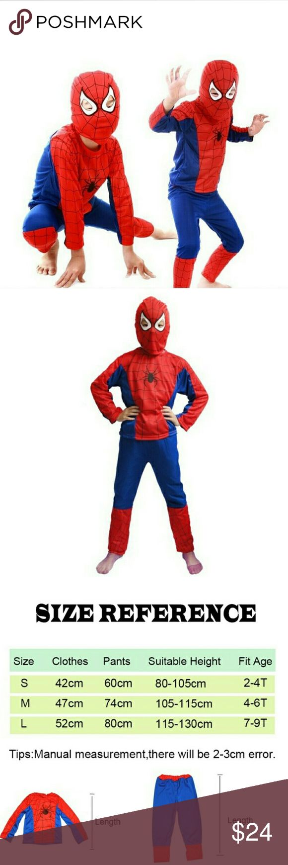 New Spiderman Costume Boys Sizes S, M & L 3 pc New Spiderman Costume Boys Sizes S, M & L 3 pc. Please see measurements. It is made with thin material to wear alone or over other clothes. Costumes Halloween