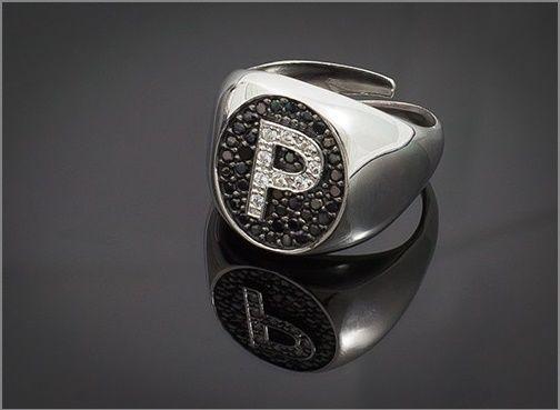 Anello Donna Think Positive regolabile con iniziale P in argento 925 e swarovski