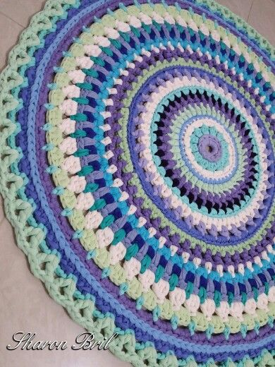 Crochet mandala rug More