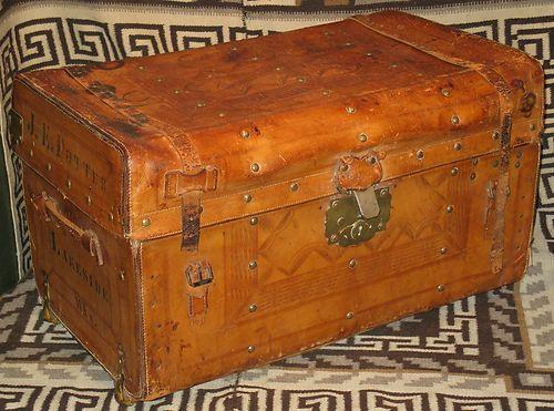 Antique RARE Stagecoach Boat Train Original Leather Trunk Casters Brass Studs | eBay