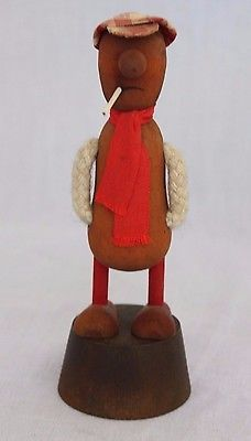 Vtg Wooden Smoker Smoking Man Figurine Sweden Swedish Scandinavian Folk Art 5