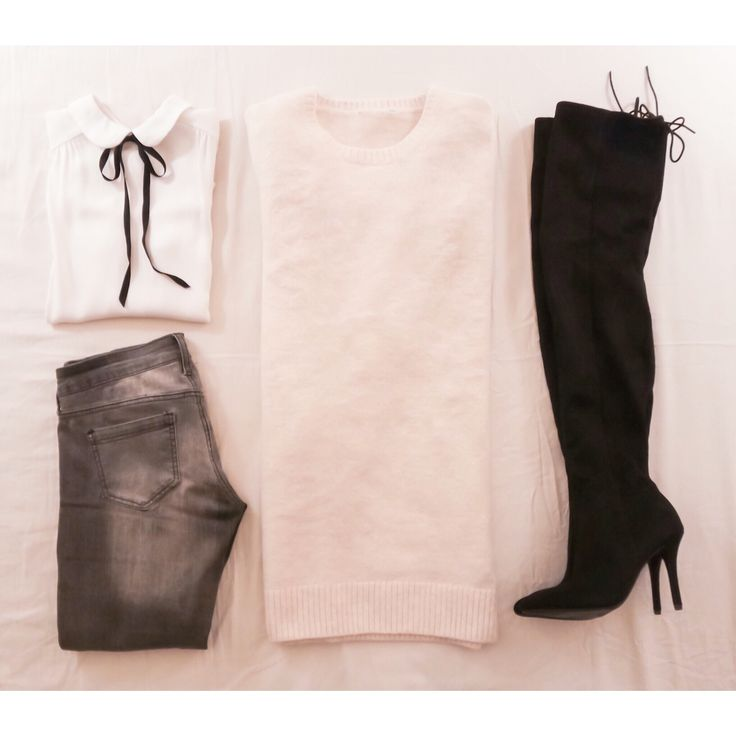 Sweater with over the knee boots outfit.