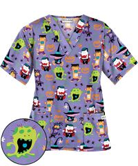 UA Monster Mash Dark Lilac Print Scrub Top