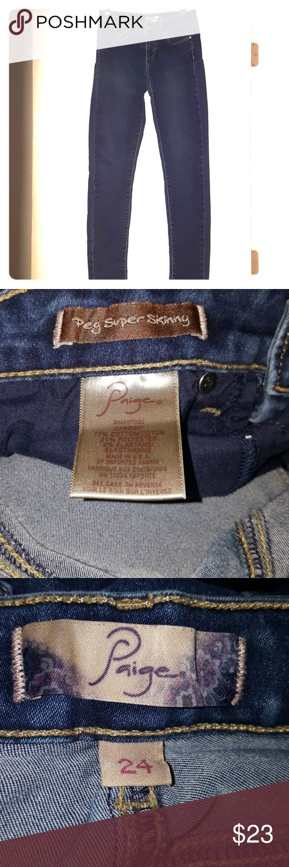 Paige Dark Wash Peg Super Skinny Jeans Excellent condition no flaws .  Size 24 Inseam 29 Paige Jeans Jeans Skinny