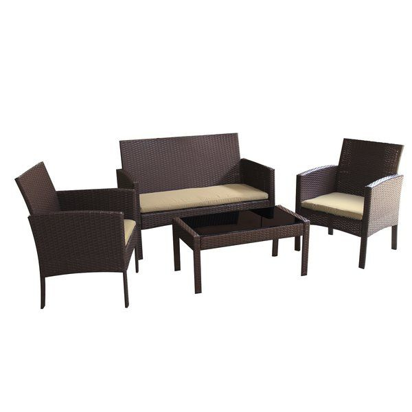 Incredible Tessio 4 Piece Rattan Sofa Seating Group With Cushions Ncnpc Chair Design For Home Ncnpcorg