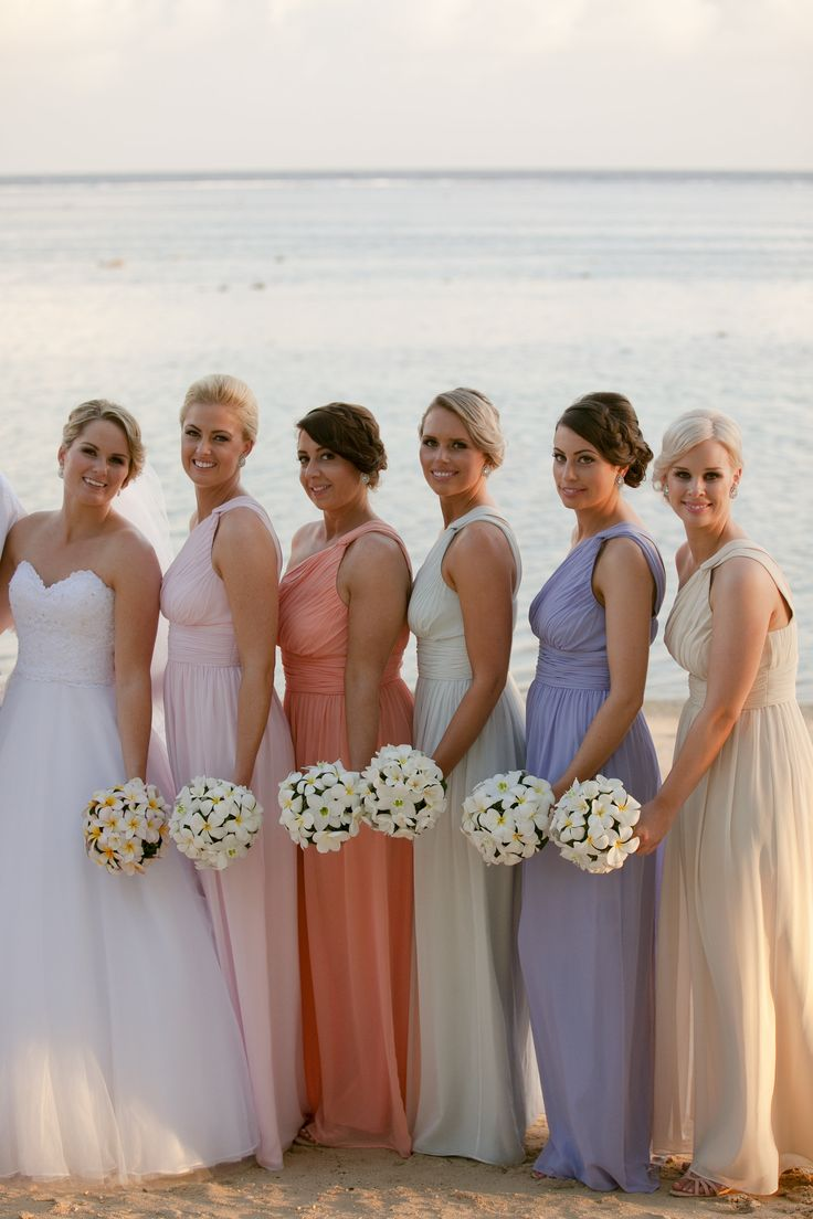 10 best different coloured bridesmaid dresses images on pinterest hannah and her husband dan celebrate their gorgeous fiji wedding with their stunning mix and matched bridesmaids ombrellifo Choice Image
