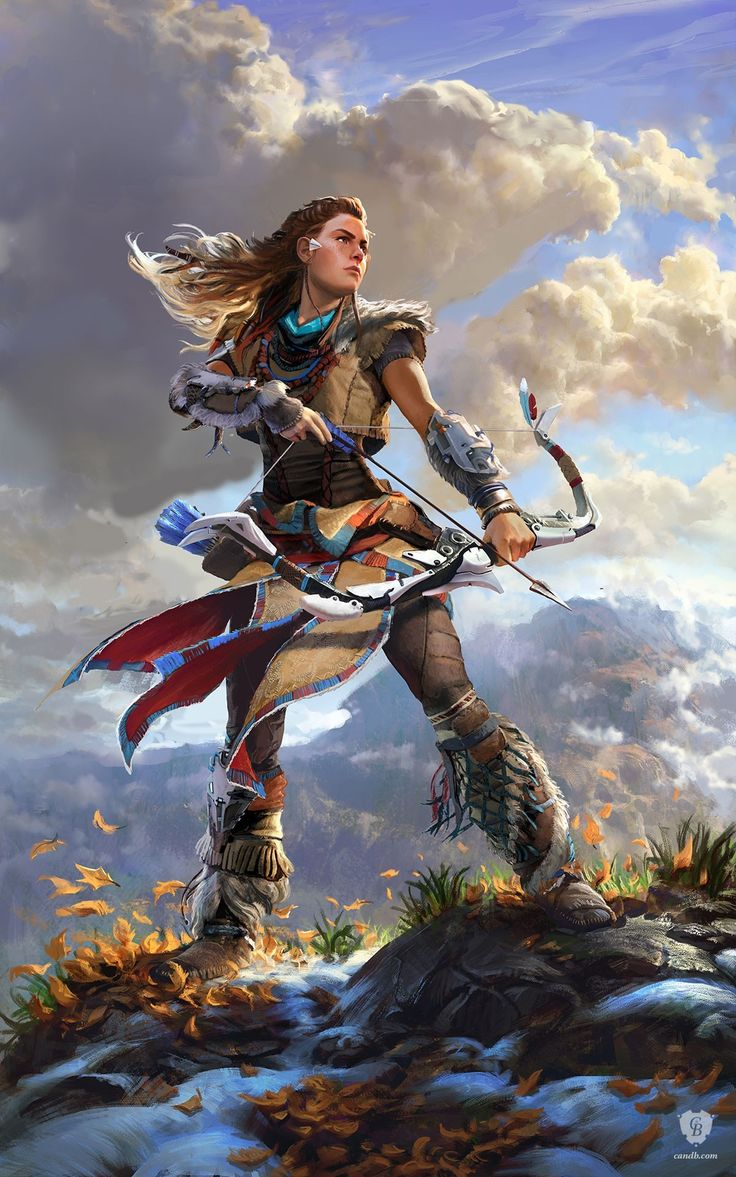 Bow drawn, #Aloy carefully scans the horizon as she tracks her Machine prey across the mountains in this official concept artwork for the upcoming video game Horizon Zero Dawn. The art print Aloy is official concept art used in the production of #HorizonZeroDawn and is exclusively available as this limited edition high-quality #giclee. #GuerillaGames #Playstation