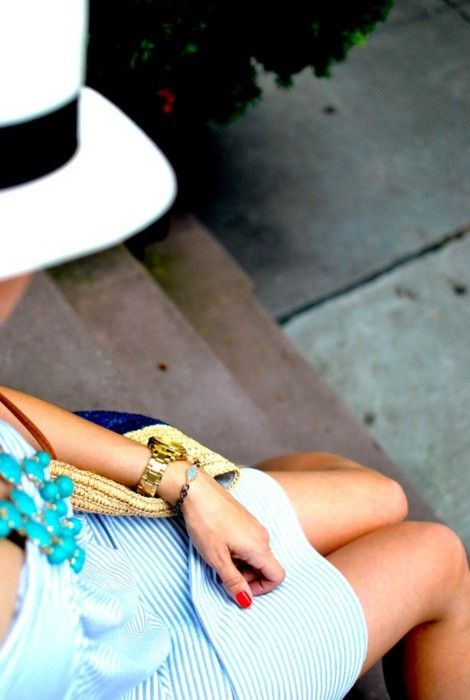 Efortless ♥: Hats, Statement Necklaces, Summer Style, Turquoi Jewelry, Summer Outfits, Red Nails, Gold Watches, Summertime, Summer Time