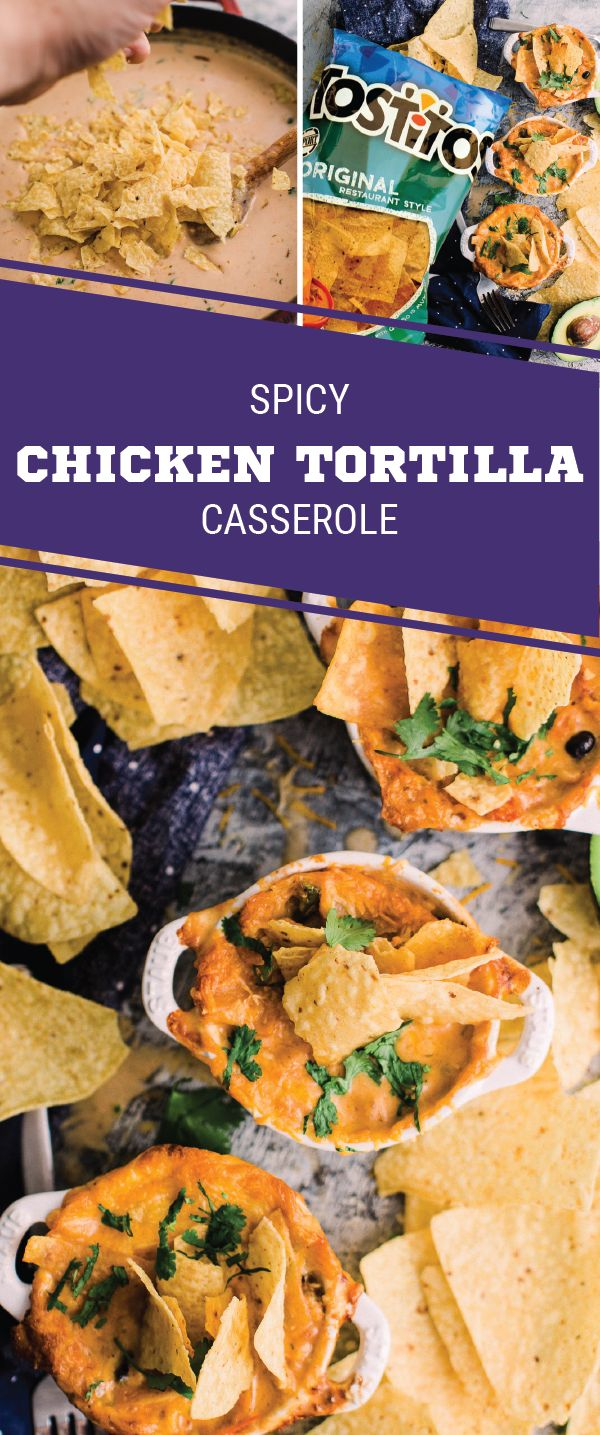 Sponsored by Frito-Lay. For game day comfort food at its finest, check out this recipe for Spicy Chicken Tortilla Casserole! TOSTITOS® Original Restaurant Style Tortilla Chips add the perfect crunch while bold seasonings, salsa, black beans, and poblano p