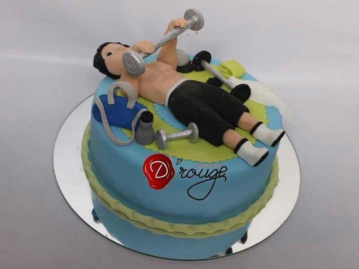 Torta Hombre haciendo ejercicio 100 % Comestible.