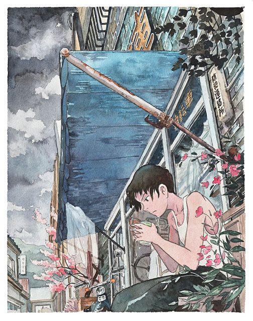 Bicycle Boy um belo trabalho em aquarela inspirado nos animes do Estúdio Ghibli
