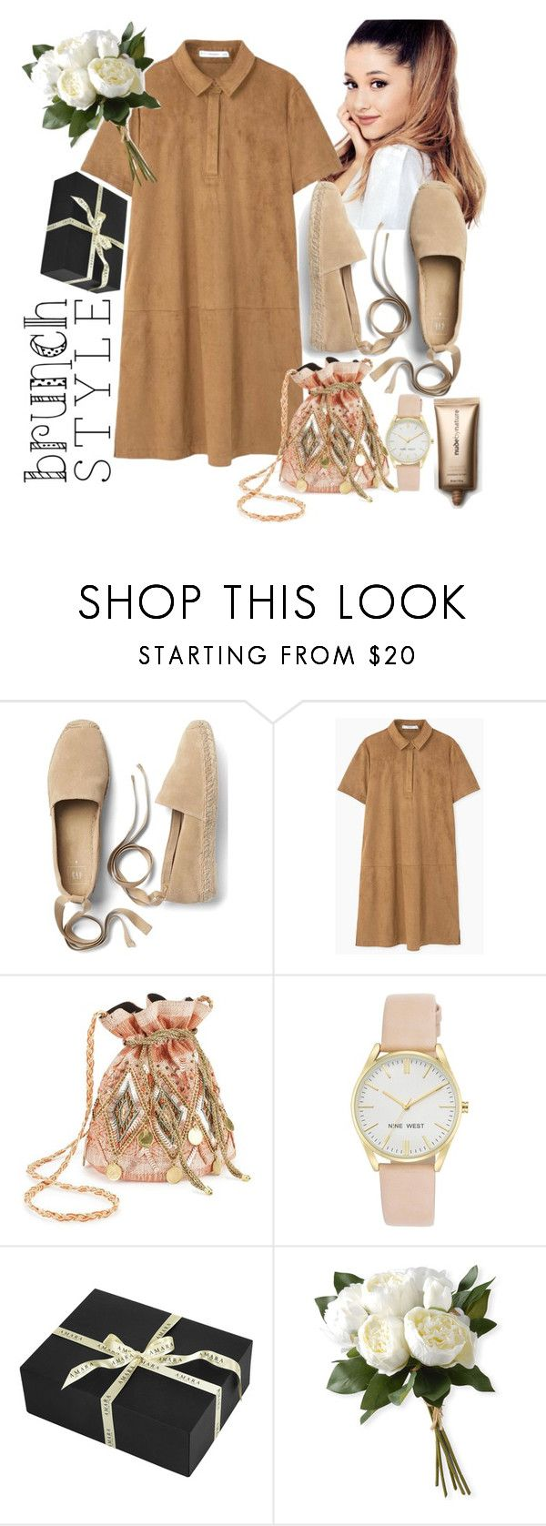 """Untitled #344"" by hangdo ❤ liked on Polyvore featuring Gap, MANGO, Miss Selfridge, Nine West, Amara, National Tree Company and Nude by Nature"
