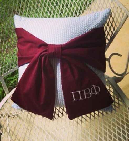 Pi Beta Phi wine and silver blue pillow craft #piphi #pibetaphi