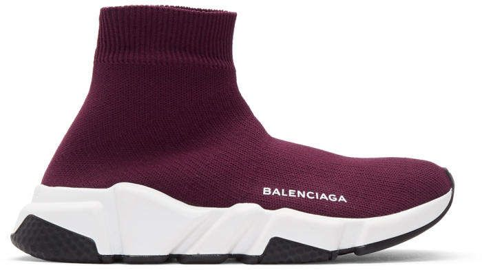 Balenciaga Burgundy Speed Runners High