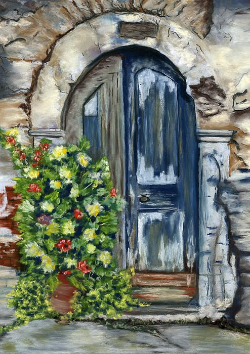Old Neglected Door with Flower Planter. Pastel Painting. by Sarah Dowson. Fine Art Prints and Greeting Cards available here.