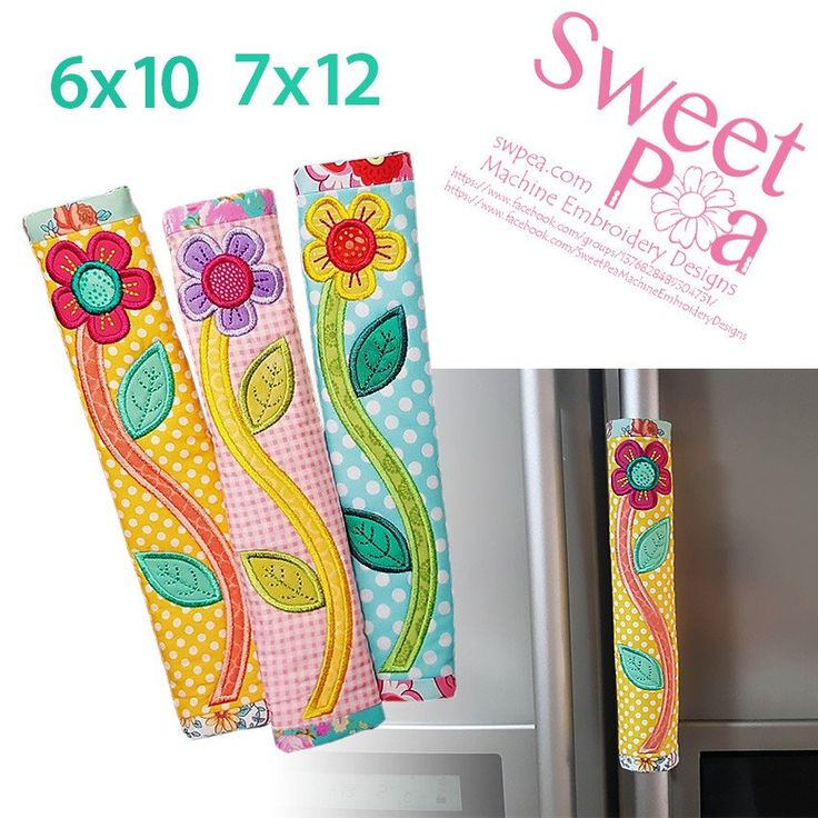 Flower fridge handle wrap 6x10 and 7x12 in the hoop machine embroidery design