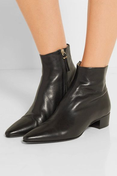 The Row - Ambra Leather Ankle Boots - Black - IT39.5