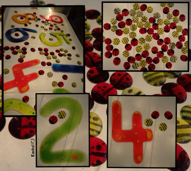 "Counting homemade glass pebble ladybirds and bees on the lightbox from Rachel ("",)"