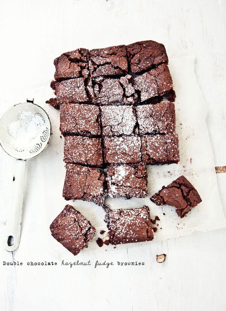 Double Chocolate Hazelnut Fudge Brownies via What Katie Ate