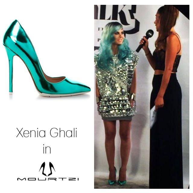 ΞΕΝΙΑ ΓΚΑΛΗ Xenia Ghali in Mourtzi shoes www.mourtzi.com #xeniaghali #madwalk #madwalk2016 #pumps #metallics