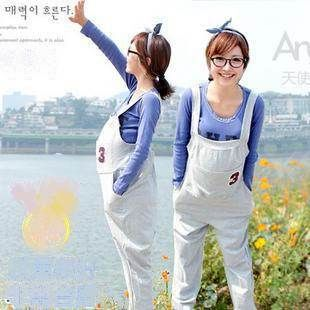 2014 new spring Korean Maternity  Pants Bib pregnant Suspenders strap pants comfortable clothes for  pregnant women KL4694