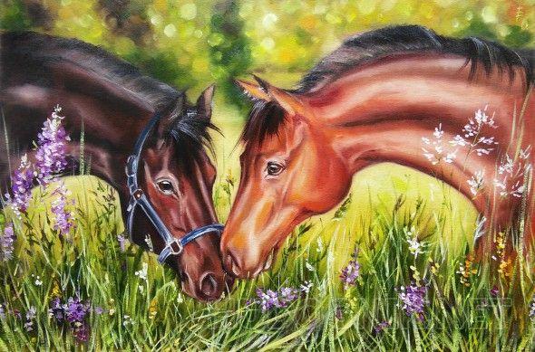 """Люблю Самые красивые животные...И самая нежная любовь...  Яркая красочная картина с парой лошадей обязательно принесет любовь, гармонию и цвет в дом.   Картины с животными - это картины с особой душой...Они - """"живые"""". Такие картины имеет смысл """"собирать"""", составляя композицию из нескольких работ с разными животными...    Выполнена на холсте, края закрашены. Можно повесить без рамы."""