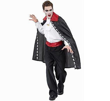 Peleryna Wampira z czerwoną stójką i białym żabotem. Doskonała na Halloween.