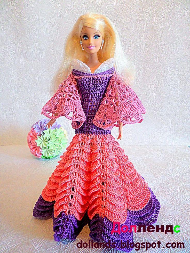 Наряды для кукол барби. Платье розового цвета с очень широкими рукавами. Юбка двухцветная, розовый и фиолетовый.
