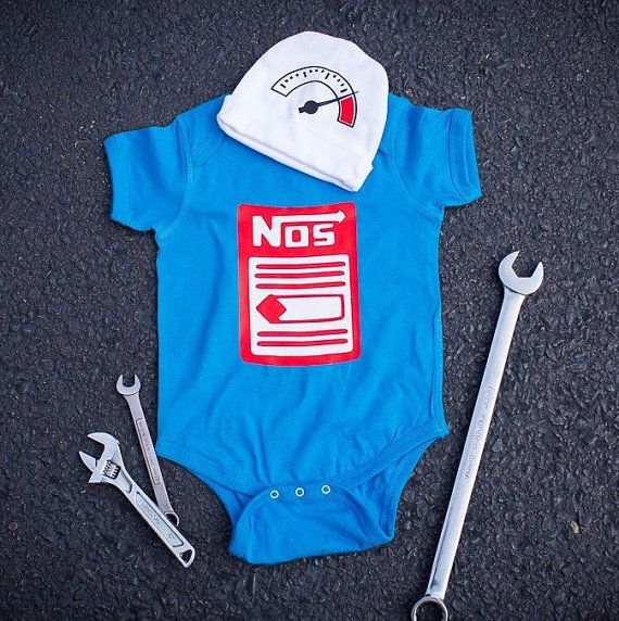 d1451919b087 Race Car Baby Bodysuit, NOS Baby Set, Car Baby Outfit, Father's Day Baby  Outfit